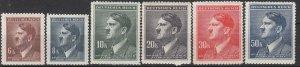Stamp Germany Bohemia Czech Mi 105-110 Sc 78-83 1942 WWII Hitler War Era MNH