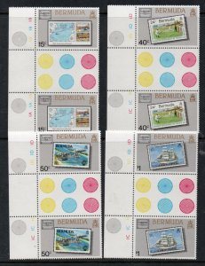 Bermuda Sc 504-07 1986 AMERIPEX stamp set gutter pair mint NH