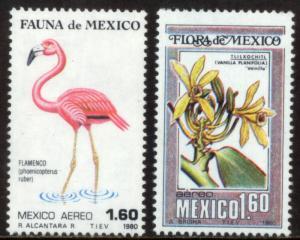MEXICO C632-C633, Fauna and Flora Flamingo, Vanilla. MINT, NH. F-VF.
