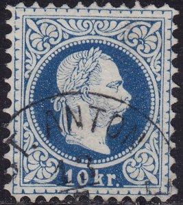 Austria - 1875 - Scott #37b - used - Perf 10 1/2 - Franz Josef