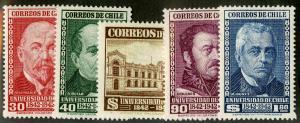 CHILE 228-232 MNH SCV $7.00 BIN $3.50 UNIVERSITY OF CHILE