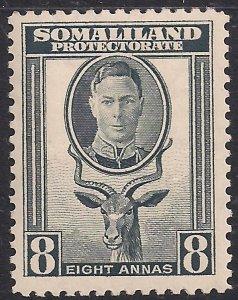 Somaliland 1942 KGV1 8 Annas Grey MM SG 111 ( K505 )