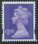 GB QE II Machin - SG Y1743   Used  £1 Bluish Violet 2 Bands