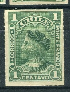 CHILE; 1900 early Columbus rouletted issue Mint hinged Shade of 1c. value