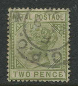 NATAL - Scott 74 - QV Definitive - 1887 - Used - Wmk 2 - Perf.14 - 2p Stamp