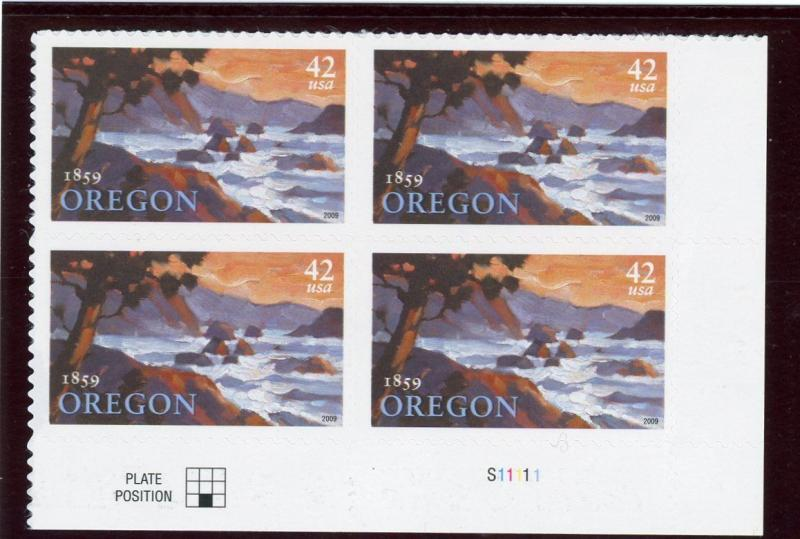 US  4376  Oregon Statehood 42c -Plate Block of 4 - MNH - 2009 - S11111  LR