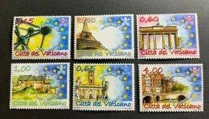 Vatican City Sc# 1358-63 MNH Complete Set - Treaty of Rome 50th Anniversary