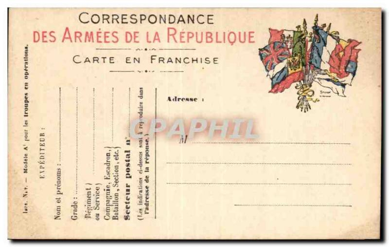 CPA Correspondence Of the Armies Of the Republic Chart Of Fr
