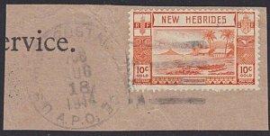 NEW HEBRIDES 1944 10c on piece US ARMY APO 708 duplex cancel................5239