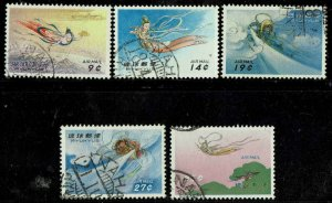 RYUKYU ISLANDS #C24-28 1961 9c TO 35c AIR MAIL ISSUES-USED--HANDSTAMP CANCELS-VF