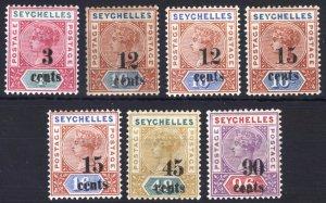 Seychelles 1893 3c-90c DIE I & DIE II SG 15-21 Sc 22-26 LMM/MLH Cat£150($200)