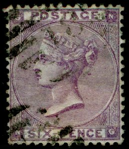 SG84, 6d lilac plate 3, USED. Cat £140. NG
