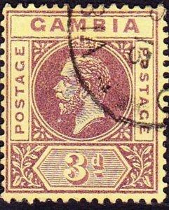 GAMBIA 1912 KGV 3d Purple/Yellow SG91 FU