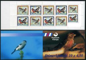 Faroe 313-314a booklet,MNH.Michel 315-316. Birds 1997. Birds:Pyrhulla,Carduelis.