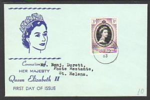Saint Helena 139 QEII Coronation 1953 Typed FDC