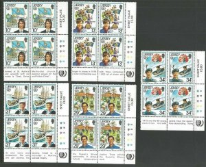 1985 Scouts Jersey Girl Guides 75th anniversary IYY corner 'traffic' blocks