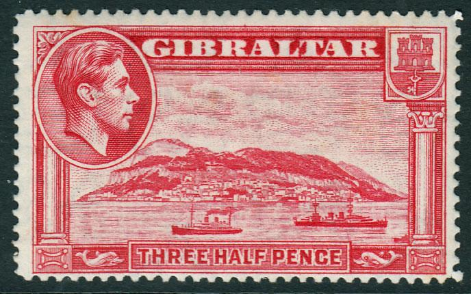 Gibraltar KGVI 1938 1.5d Carmine SG123 Lightly Mounted Mint