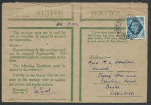 GB 1943 Honour enveope with GVI 10d for airmail used FPO 136...............56424