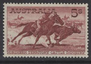 AUSTRALIA SG327a 1964 5/- BROWN-RED WHITE PAPER MTD MINT