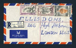NIGERIA to ENGLAND 1958 Registered Air Mail Cover PORT HARCOURT to LONDON