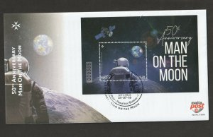 2019 MALTA - MOON LANDING 50TH ANNIVERSARY MINI SHEET  ON FIRST DAY COVER