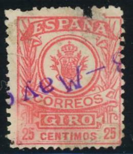Spain Civil War Movil Giro Correos (SC NNBK 241 ) 25c used 1911-1920 Revenue