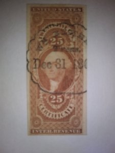 SCOTT # R44 25 CENT USED CERTIFICATE IMPERFERATED GREAT CANCEL !!1860