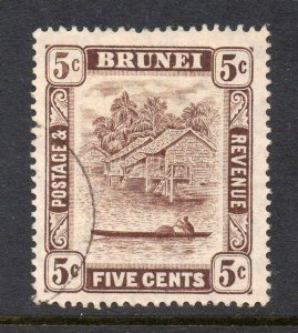 Brunei 1924 KGV 5c chocolate retouch SG 68a used