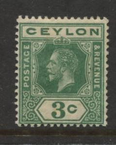 Ceylon -Scott 202a - KGV -Definitive- 1912- MH - Single 3c Stamp