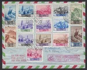 1949-50 San Marino, N° 342-355, Landscape 14 Values Su Envelope FDC