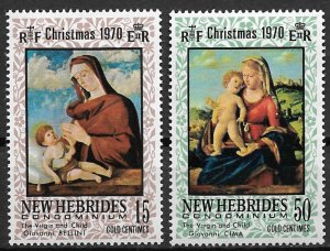 1970 French New Hebrides 161-2 Christmas Virgin and Child C/S NH