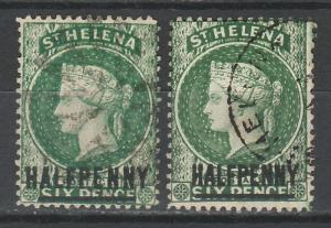 ST HELENA 1884 QV HALFPENNY BOTH 14.5 AND 17MM USED