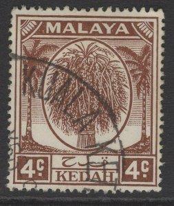 MALAYA KEDAH SG79 1950 4c BROWN FINE USED