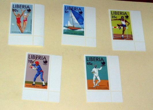 Liberia - 1091-95, MNH Set. Olympics. SCV - $6.25