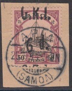 SAMOA 1914 GRI opt on German Samoa : 6d on 50pf INVERTED 9 used on piece....C634
