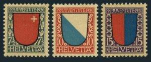 Switzerland B15-B17,hinged/wo. Pro Juventute 1920. Arms: Schwyz, Zurich, Ticino.