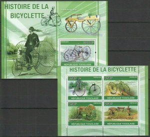 TG1268 2010 TOGO TRANSPORT HISTORY THE BICYCLES BICYCLETTE BL+KB MNH
