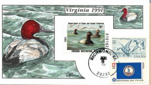 1991 Richmond Virginia USA Duck Stamp Milford Hand Painted First Day Cover