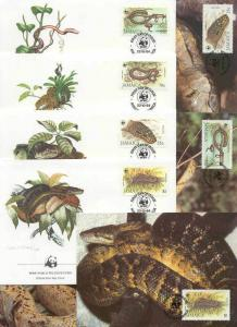 Jamaica 8 FDC/cards WWF/Snakes 1984