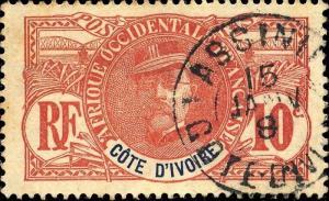 CÔTE-D'IVOIRE - 1908 - CAD ASSINIE SUR 10c FAIDHERBE - PEU COMMUN