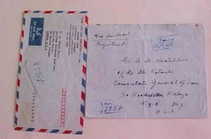IRAN SHAH REGISTERED 2 COVERS 1949 TO USA