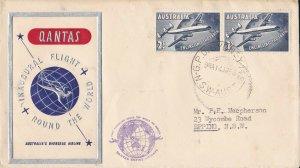 AFC220) AUSTRALIA 1958 QANTAS 1ST FLT.CVR.- QANTAS ROUND THE WORLD-AAMC 1386