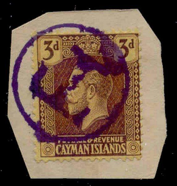Cayman Islands 1921 3d with 'T' Postage Due Strike in Violet on Piece