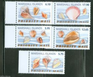 MARSHALL ISLANDS 2014 SEASHELLS SET OF 5 HIGH VALUES   MINT NH