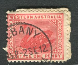 WESTERN AUSTRALIA;  Early 1900s Swan type 1d. used, + MINOR PLATE FLAW