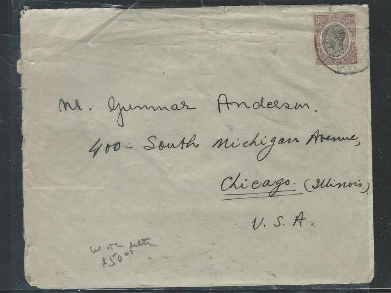 TANGANYIKA  (P2504B) KGV 1931 30C TO USA WITH LETTER FROM ADVOCAT