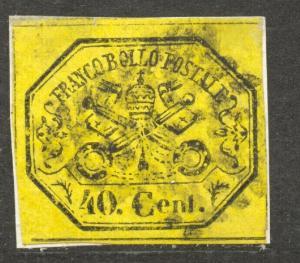 Italy, Rom States, 1867 Scott # 17, the 40 C. black on yellow, VF + used