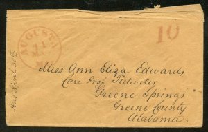 Stampless Cover to Greene Springs, Alabama fr. Maine w/Paid 10 Marking