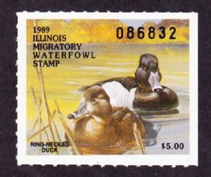 Il15 Illinois #15 MNH State Waterfowl Duck Stamp - 1989 Ring-necked Suck