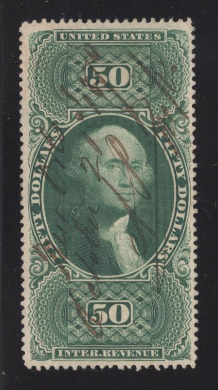R101c Green - $50.00 - U.S. Internal Revenue - Used